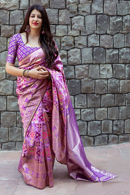 New Trendy Festival Indian Purple Color Heavy Soft And Smooth Golden Zari Digital Print S