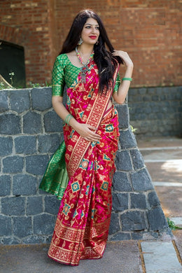 New Trendy Festival Indian Pink Color Heavy Soft And Smooth Golden Zari Digital Print Saree