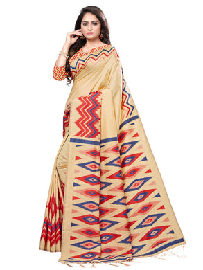 Yellow & Red Casual Cotton Silk Printed Saree With Unstitched Blouse