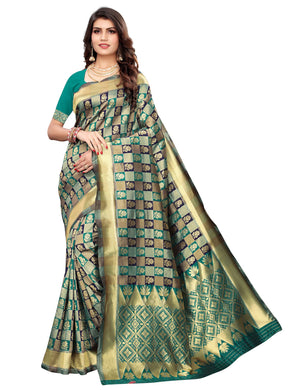 Teal Green Festive Wear Silk Blend Woven Saree With Unstitched Blouse