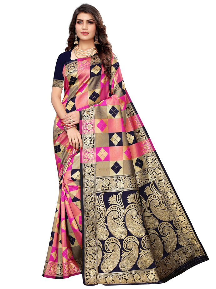 Navy Blue & Pink Festive Wear Silk Blend Woven Saree With Unstitched Blouse