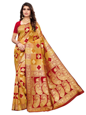 Red & Mustard Festive Wear Silk Blend Woven Saree With Unstitched Blouse