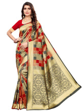 Grey & Red Festive Wear Silk Blend Woven Saree With Unstitched Blouse