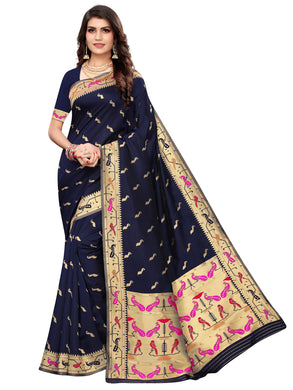 Blue Festive Wear Silk Blend Woven Saree With Unstitched Blouse