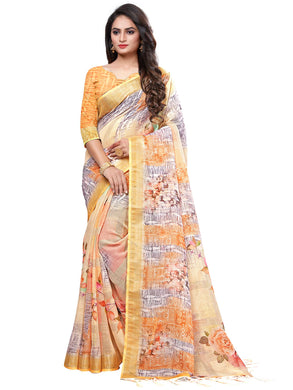 Cream Casual Linen Printed Saree With Unstitched Blouse