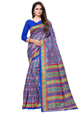 Blue Casual Patola Silk Printed Saree With Unstitched Blouse
