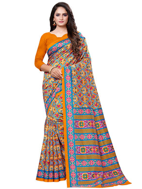 Mustard Casual Patola Silk Printed Saree With Unstitched Blouse