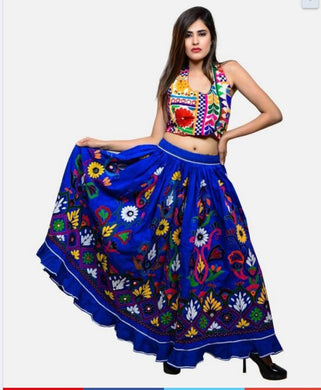 Heavy Embroidery Work Designer Wedding Wear And Festival Wear Blue Color Lahenga Choli