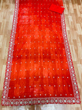 Kajol Bollywood Red Color Georgette Material Embroidary Work Saree