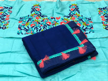 Blue Color Marble Chiffon Saree With Latkan At Pallu+emrbroidary Blouse
