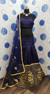 Blue Color Bangloriy Sattin Silk Embroidery Work Lehenga