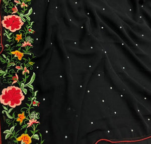 Amazing Black Colour Georgette With Multi Work Saree