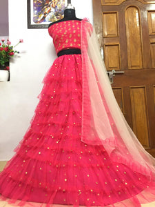 New Collection Gajri Colour Heavy Soft Net With 10 Ruffle Layers & Embroidery Butti Lehenga