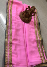 Wedding Collection Pink & Grey Georgette Embroidered Work Amazing Saree