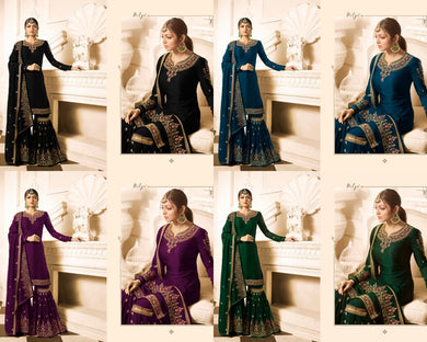 Catalog Catalog Traditional Embroidered Georgette Semi Stitched Suit With Palazzo (stitched)bottom