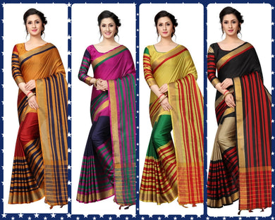 Catalog New Printed Cotton Saree With Blouse