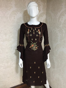 New Designer Women's Rayon Brown Color Straight Kurti