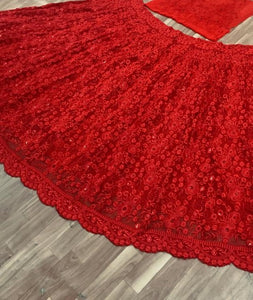 Imperial Red Georgette Heavy Embroidery Work Designer Circular Lehenga Choli