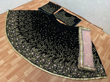Black Colore Bollywood Style Designer Embroidery Work With Wedding Wear Lahenga Choli