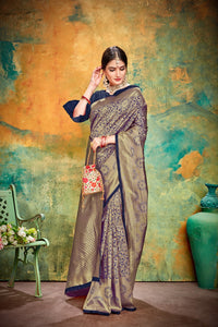 Designer Gold % Navyblue Banarasi Silk Kanjivaram Work Smooth Saree