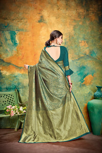 Designer Green Banarasi Silk Kanjivaram Work Smooth Saree