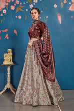 Grey Art Silk Digital Printed Lehengha