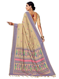 Beige Festive Wear Cotton Silk Saree With Unstitched Blouse