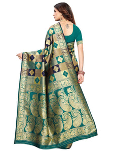 Sea Green & Navy Blue Festive Wear Silk Blend Woven Saree With Unstitched Blouse