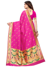 Pink Festive Wear Silk Blend Woven Saree With Unstitched Blouse