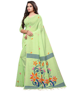 Light Green Festive Wear Cotton Silk Solid Saree With Unstitched Blouse