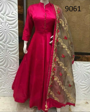 Rani Pink Color Taffeta Silk Gown With Embroidary Work Duppata
