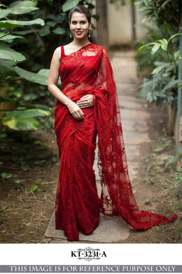 Awesome Net Material Red Color Embroidary Work Designer Saree