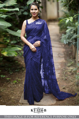 Awesome Net Material Blue Color Embroidary Work Designer Saree