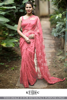 Awesome Net Material Peach Color Embroidary Work Designer Saree
