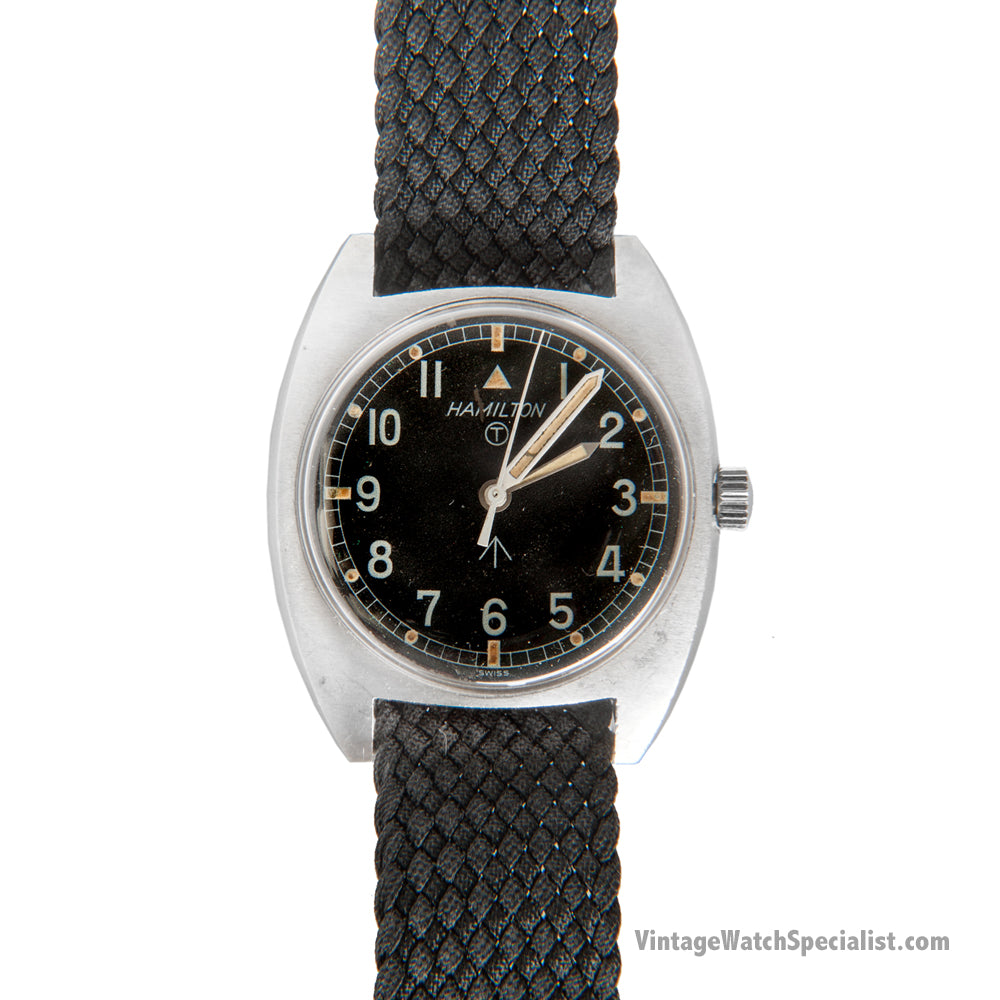 HAMILTON W10  HAND WOUND MILITARY WATCH, 1977 WITH HACK FEATURE
