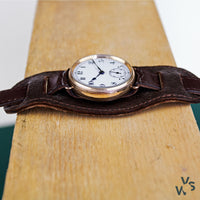 1900s Zenith 9k Rose Gold Trench Watch - 32mm case enamel white dial - Vintage Watch Specialist