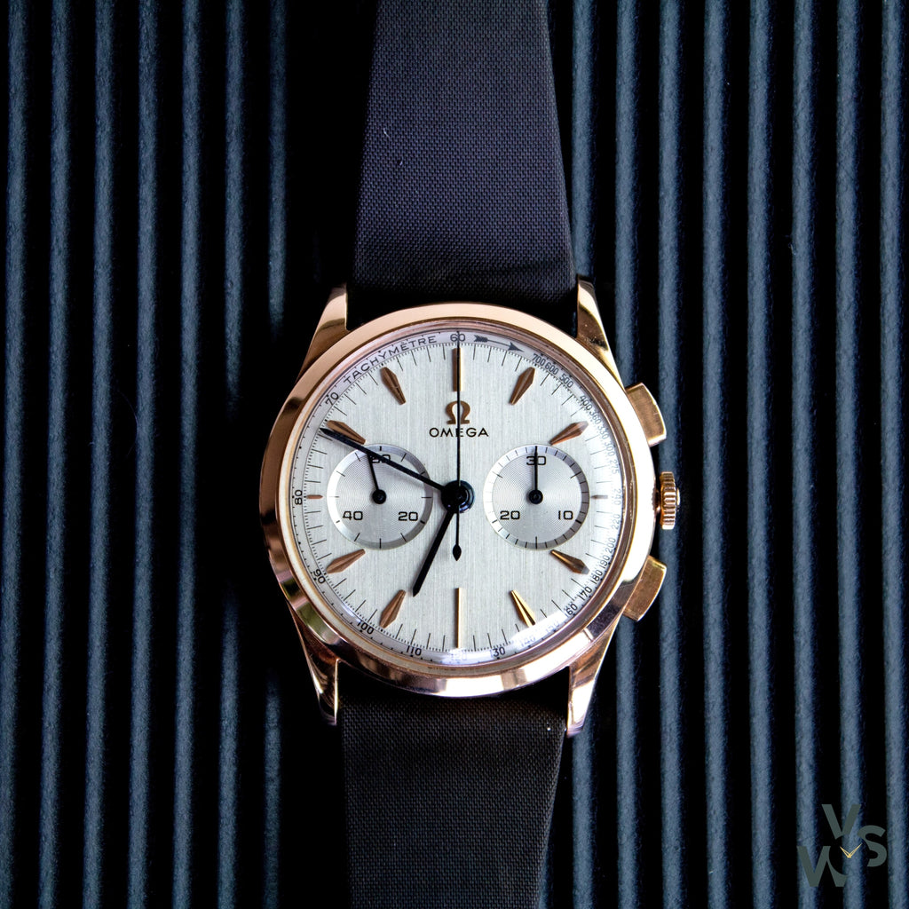 1959 Omega 2872-11 Chronograph 18k rose gold - Calibre 320 - Vintage Watch Specialist
