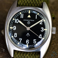 1975 Hamilton W10 Hacking Seconds British Navy watch - New Old stock condition - Vintage Watch Specialist