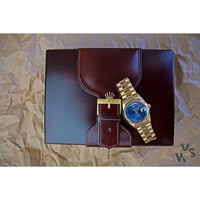 1990 18k yellow gold Rolex Day Date Reference 18238 - Blue sunburst dial - Vintage Watch Specialist