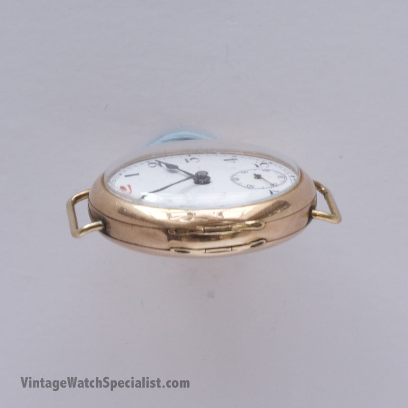 9K GOLD TRENCH WATCH, CASE NO 197018, EARLY 1900's