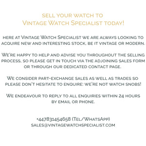 Sell your watch to Vintage Watch Specialist