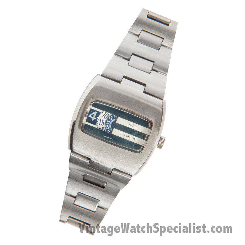 STOWA JUMP HOUR AUTOMATIC - TWO TONE DIAL -  STAINLESS STEEL WATCH