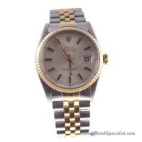 Rolex Oyster Perpetual Datejust Model 16013 27 Jewels 18K Gold and Steel