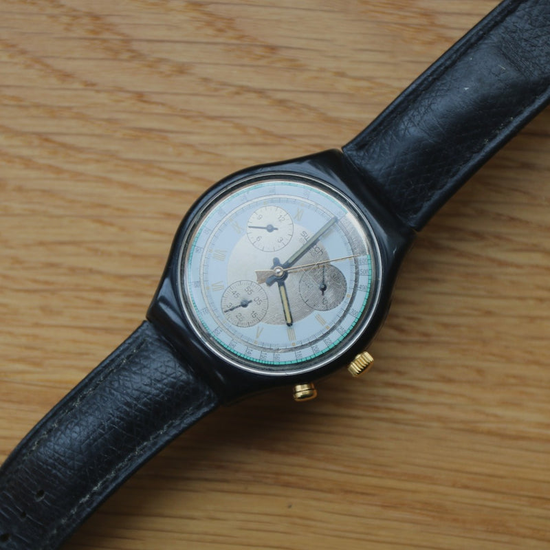Swatch Chronograph - Black leather band