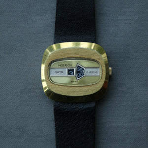 Ingersoll Gold Plated 'Jump' hour/minute watch - Unique patented retro design