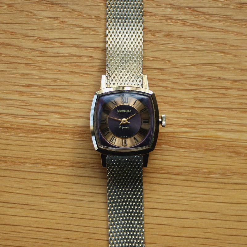 Sekonda Ladies Gold Plated Watch on Milanese Mesh Bracelet - Cal. 1601 Movement - Spares or Repair