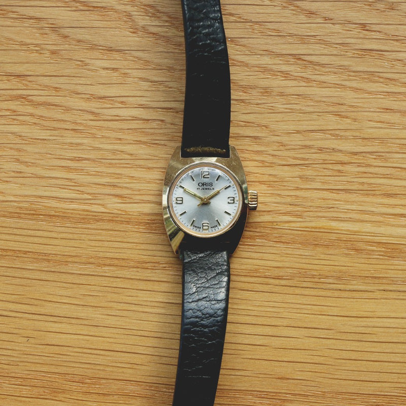 Oris Ladies Gold Plated Dress Watch - Calibre 442 movement - black leather band - Sold As Is, For Spares or Repairs!