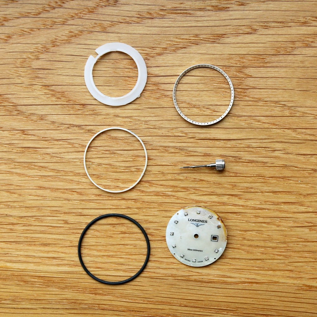23mm Longines Mother of Pearl Dial, Bezel, gasket, ring, seal, stem and crown - Spares/Repairs