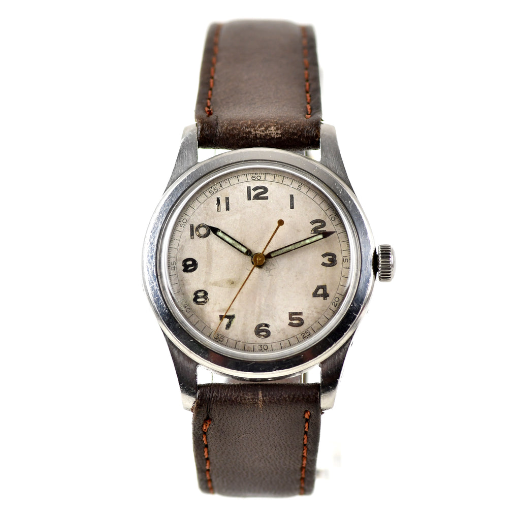 Tavannes Watch Co. - Unsigned Military Style Dial with Arabic Numerals - c.1940