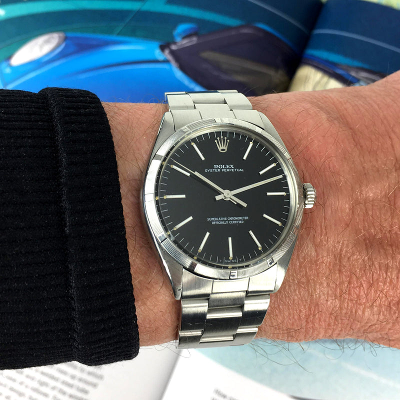 Rolex Oyster Perpetual - Stunning Black Dial and Engine Turned Bezel - Ref.1002, Calibre 1570 - c.1979